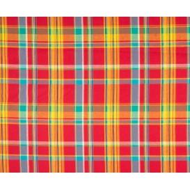 tissu coton madras rouge jaune largeur 140cm x 50cm