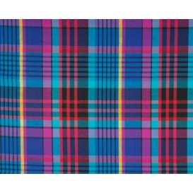 tissu coton madras bleu rouge largeur 140cm x 50cm