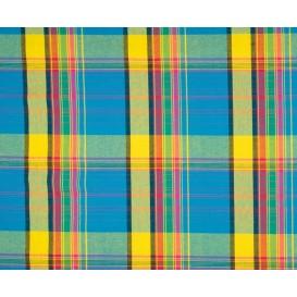 tissu coton madras turquoise jaune largeur 140cm x 50cm