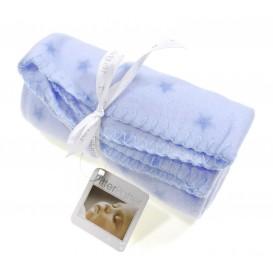 plaid bébé bleu clair étoiles 75x75cm