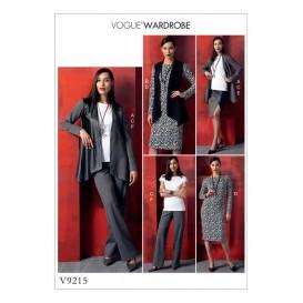 patron veste, gilet, haut, robe Vogue V9215