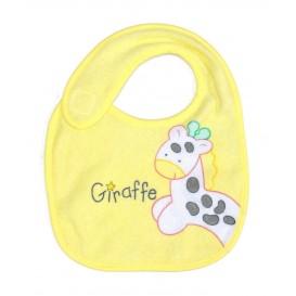 bavoir naissance jaune girafe rose
