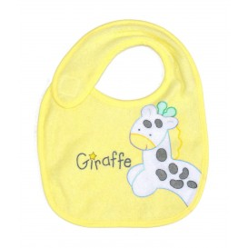 bavoir naissance jaune girafe bleu
