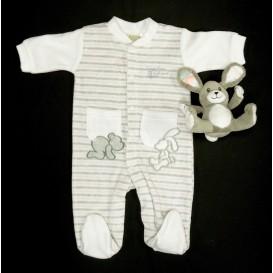 pyjama velours rayé avec doudou 0mois