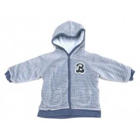 veste velours à capuche rayée bleu 6mois