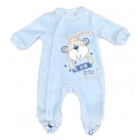 pyjama velours bleu singe naissance