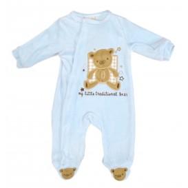pyjama velours bleu ourson 0-3mois