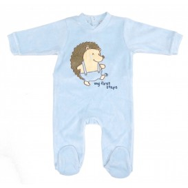 pyjama velours bleu hérisson 6mois