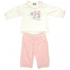 ensemble t-shirt écru pantalon rose 6mois