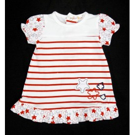 robe bébé rayé blanc rouge 1mois
