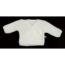 brassière maille acrylique lien blanc 0mois