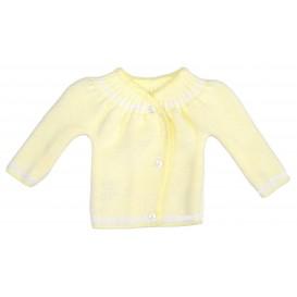 brassière maille acrylique boutons jaune naissance