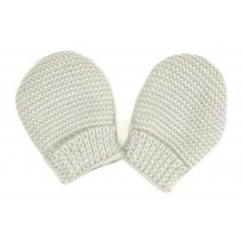 moufles maille acrylique gris naissance
