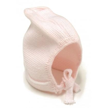 bonnet maille acrylique lien rose naissance