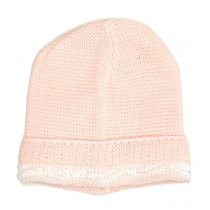 bonnet maille acrylique rose taille unique