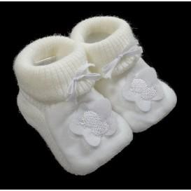 chausson bébé maille fleur canard blanc