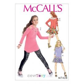 patron enfant haut, robe, tunique McCall's M7428