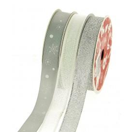 3 bobines de ruban noël argent 15mm x 3m
