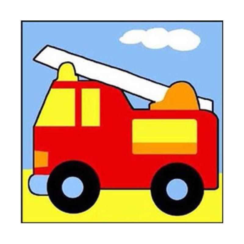 kit canevas margot camion de pompier gros trous 14x14cm. Black Bedroom Furniture Sets. Home Design Ideas
