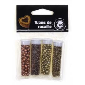 4 tubes de perles rocailles or et cuivre 8grs