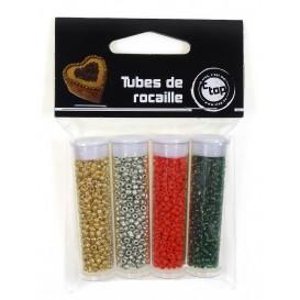 4 tubes de perles rocailles noël 8grs