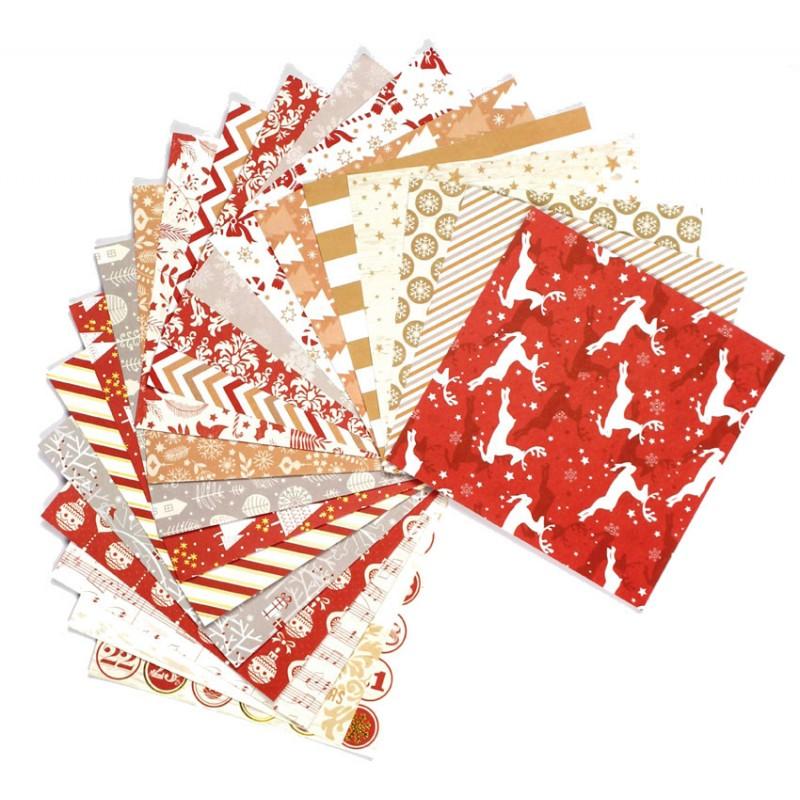 Bloc 20 feuilles de papier no l tradition 15 2cm - Decoration de feuille de papier ...