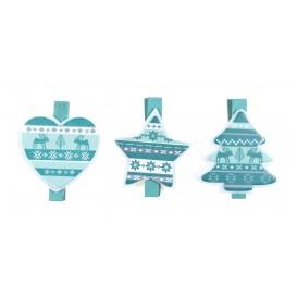 6 pinces à linge noël bleu glacier bois 4cm