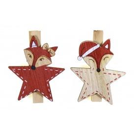 6 pinces à linge renard rouge bois 4,5cm