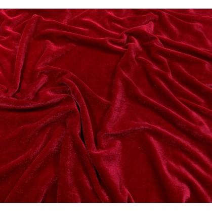 tissu velours extensible rouge largeur 140cm x 50cm
