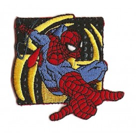 écusson spider-man carré jaune et noir thermocollant