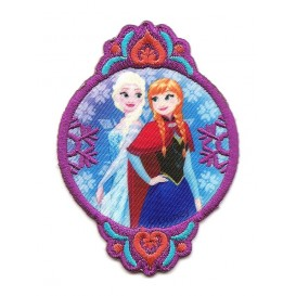 écusson disney elsa et anna la reine des neiges ovale thermocollant