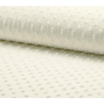 tissu velours minky pois écru largeur 140cm x 50cm