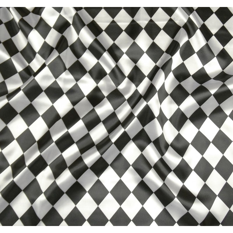 tissu satin carnaval losange noir et blanc largeur 143cm x. Black Bedroom Furniture Sets. Home Design Ideas