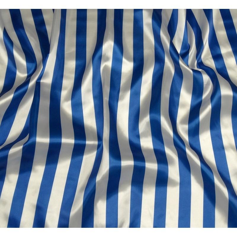 tissu satin carnaval rayures bleu et blanc largeur 143cm x 50cm. Black Bedroom Furniture Sets. Home Design Ideas