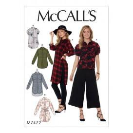 patron chemises, tuniques McCall's M7472