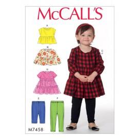 patron hauts, robe et collants McCall's M7458