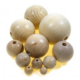 perle en bois brut à l'unité diverses tailles