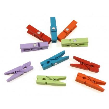 10 pinces à linge aimantées couleurs 35mm