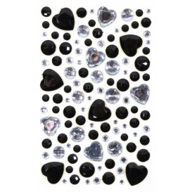 106 strass adhésifs coeur noir et cristal