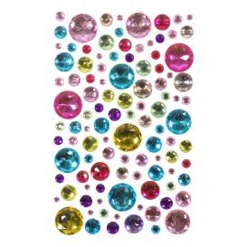 106 strass adhésifs rond multicolore