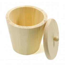 bonbonnière en bois couvercle amovible 9x8cm