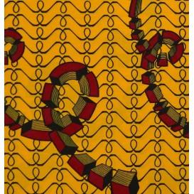 tissu africain wax jaune spirale largeur 113cm x 50cm