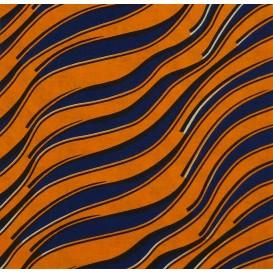 tissu africain wax vague orange/bleu largeur 113cm x 50cm
