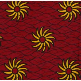 tissu africain wax rouge foncé soleil largeur 113cm x 50cm