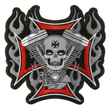 écusson biker moteur croix 17cm thermocollant