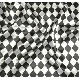 coupon 0,38mx1,43m tissu satin carnaval losange noir et  blanc