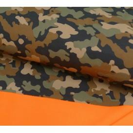 tissu déperlant camouflage kaki largeur 145cm x 50cm