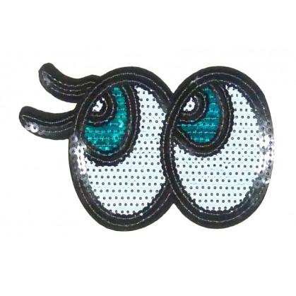 emblème paillettes yeux thermocollant
