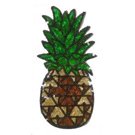 emblème paillettes ananas 13,5cm x 28cm thermocollant
