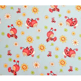 tissu coton coccinelle fleurs largeur 140cm x 50cm